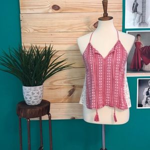 Lush Red Knit Lace Side Open Back Tank Top Shirt